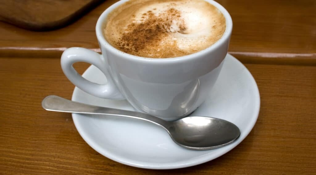 Freshly brewed espresso with crema on top.