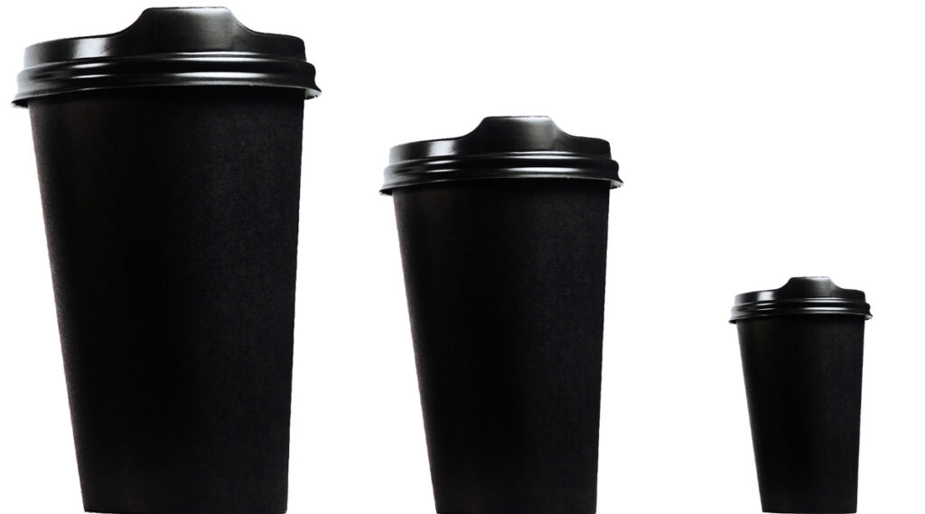 Different size coffee cup options.