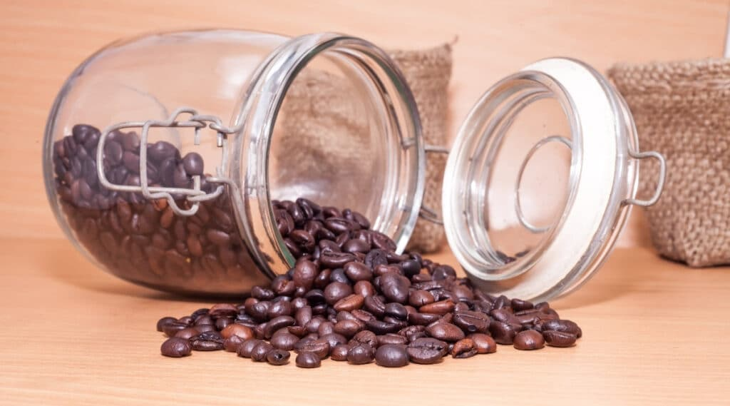 Properly storing coffee beans to keep them fresh.