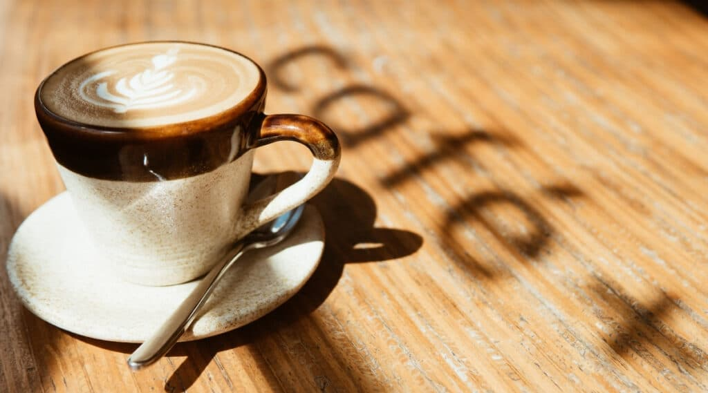 Cup of coffee brewed by the Keurig K-Cafe coffee maker.