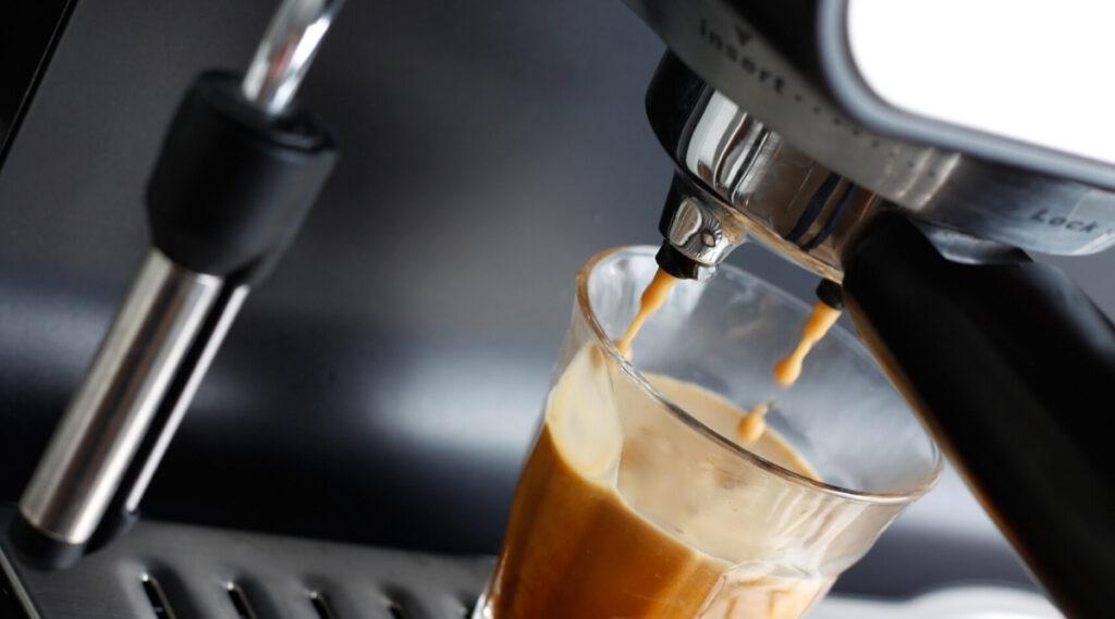Automatic Espresso Machine making Espresso.