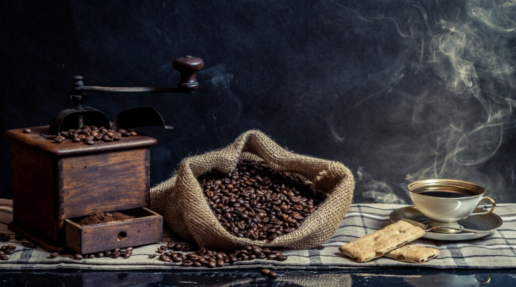 Coffee grinder is next to a bag of coffee beans ready for grinding.
