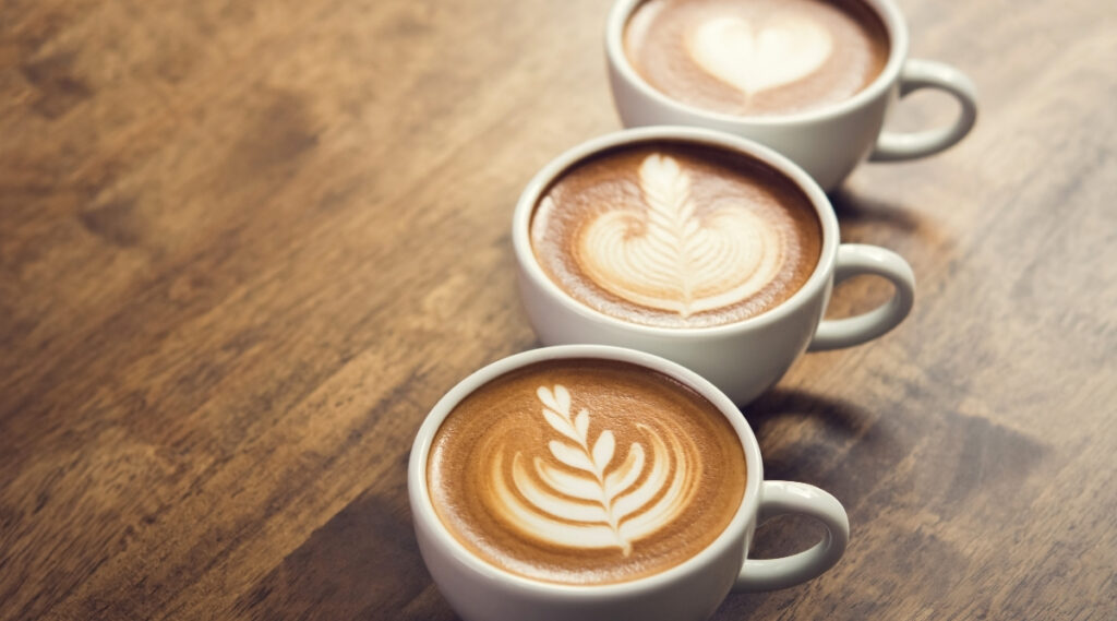 Espresso with latte art designs made from microfoam.