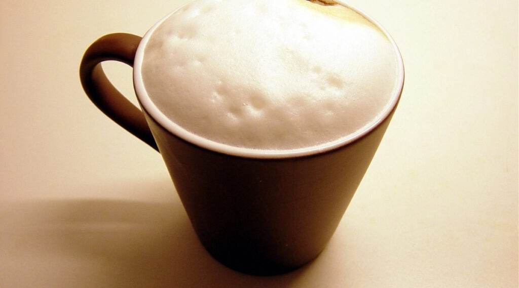 Frothy cup of espresso made by Nespresso's Lattissima brewer.