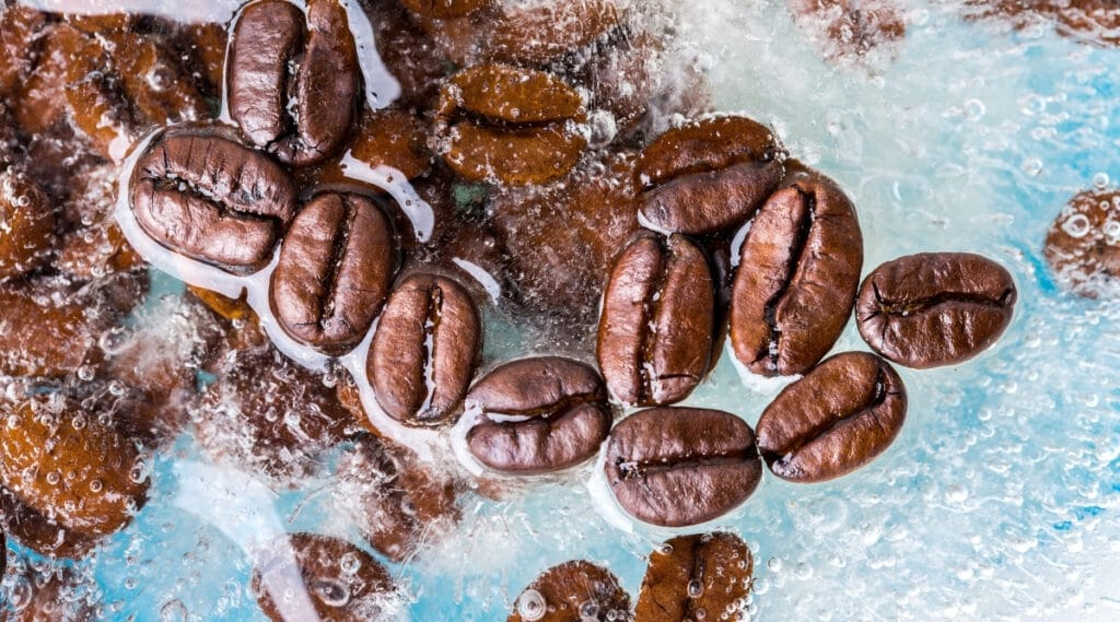 Frozen coffee beans to maintain the flavor of the bean.