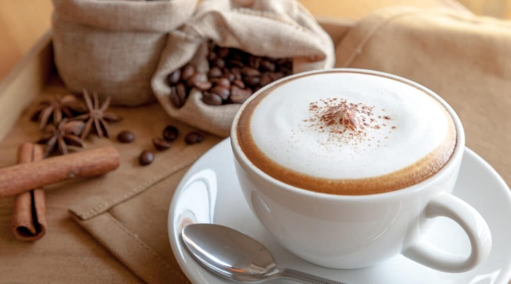 Cup of frothy cappuccino