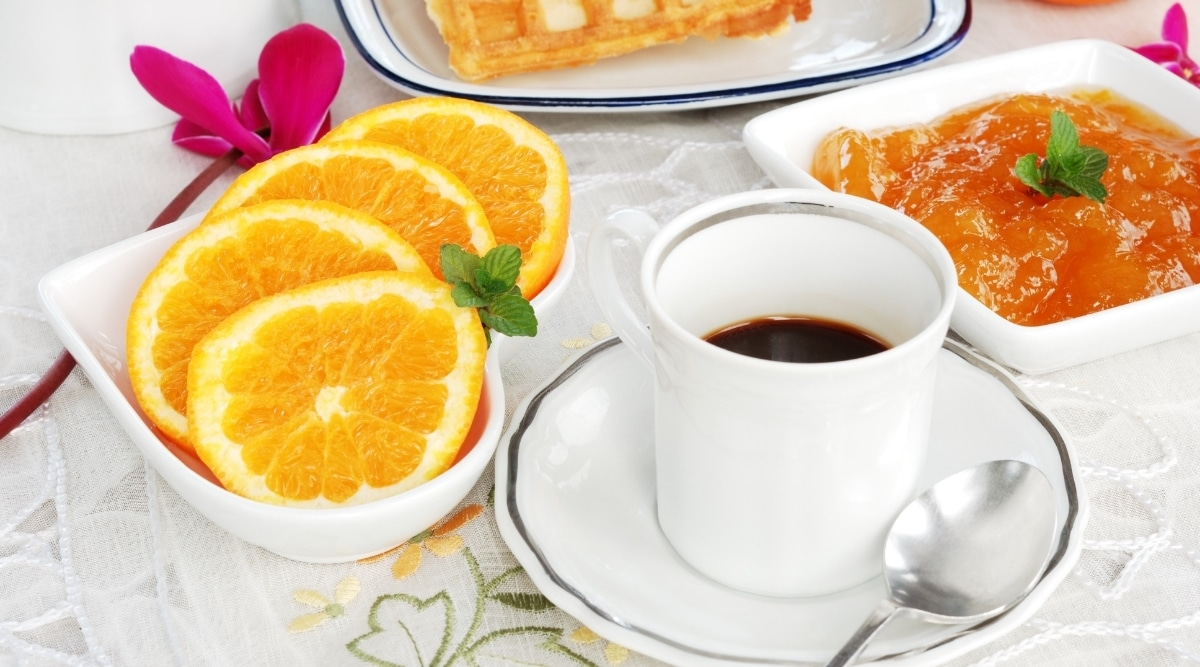 Coffee and fruit.