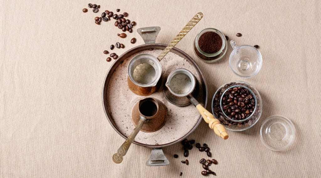 Different materials used to brew coffee.