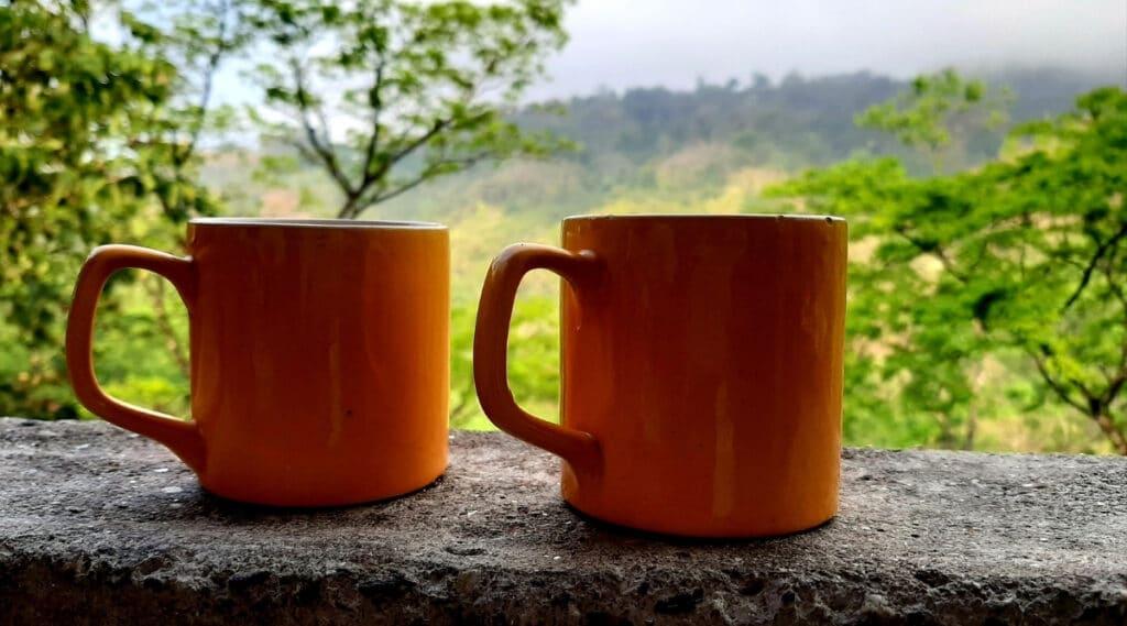 Keurig K-Mini and K15 brewed in similar coffee mugs.