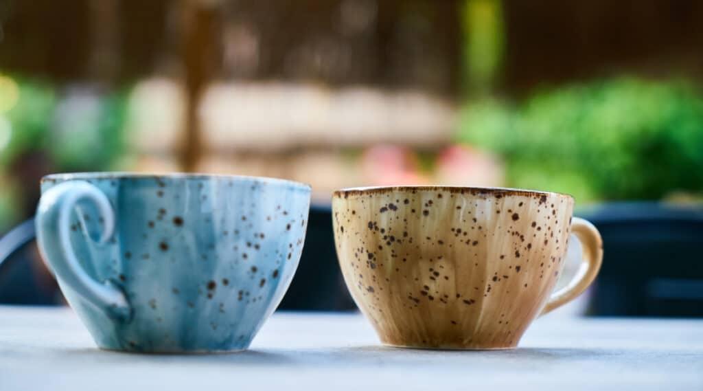 Keurig K-Mini and K15 brewed in different coffee mugs.