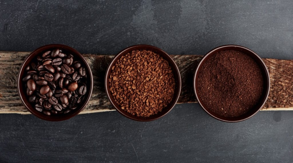 Different types of coarse coffee grinds.
