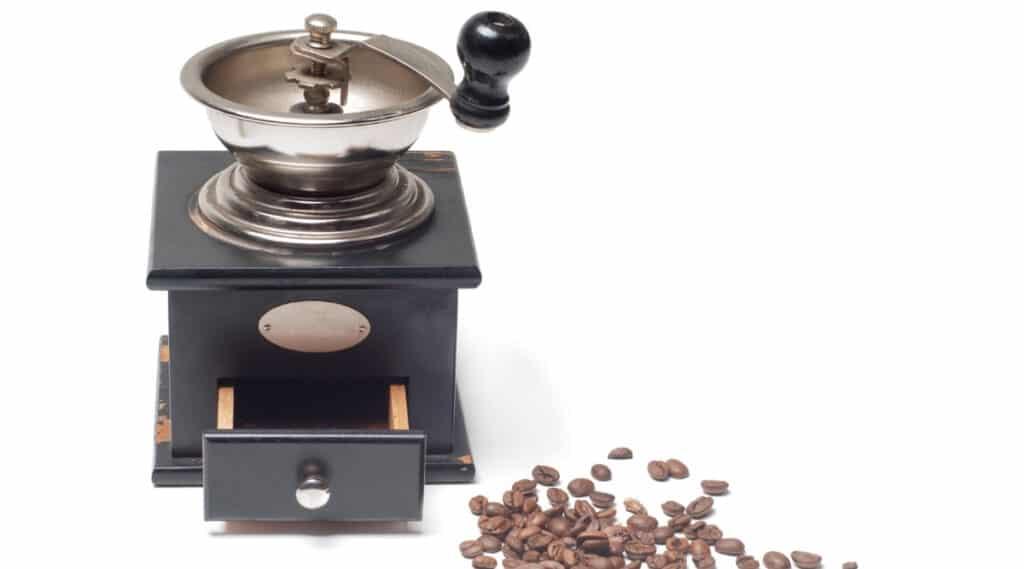 Coffee grinder grinding coffee beans.