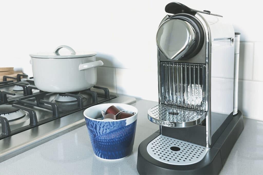 Nespresso machine ready to brew espresso.