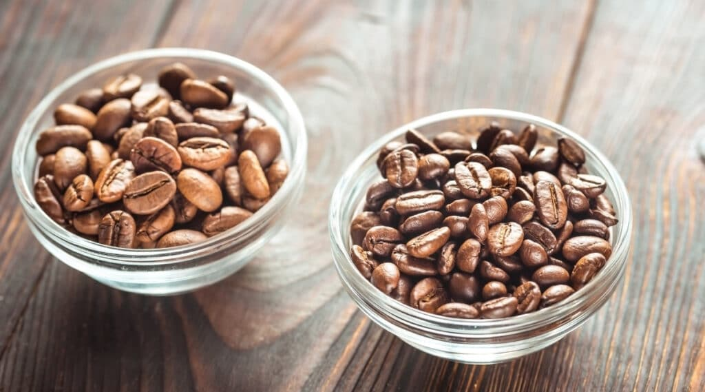 Arabica and robusta coffee beans.