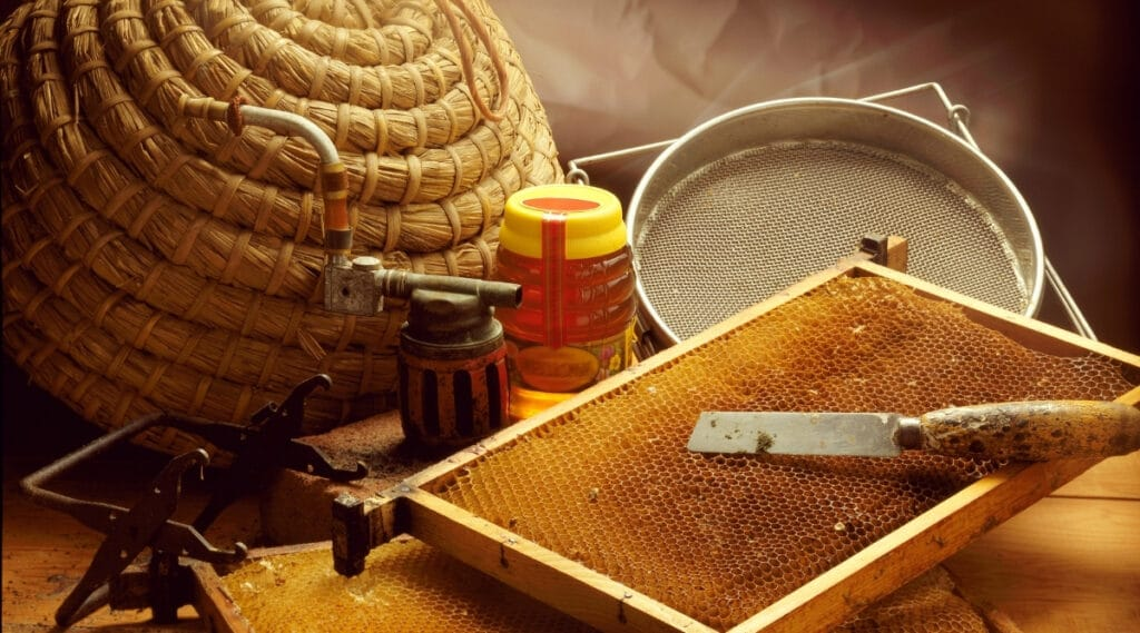 Different tools used to make honey.