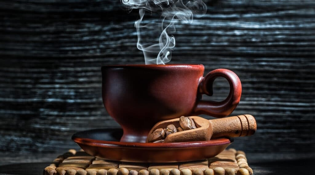 Boiling water to brew hot steamy coffee.