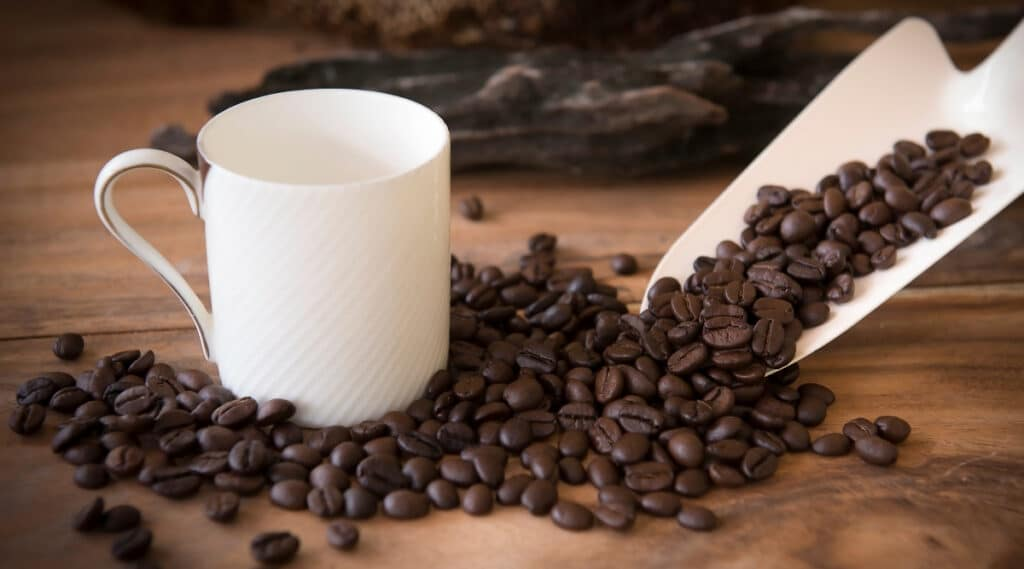 Coffee cup surrounded by quality espresso beans.