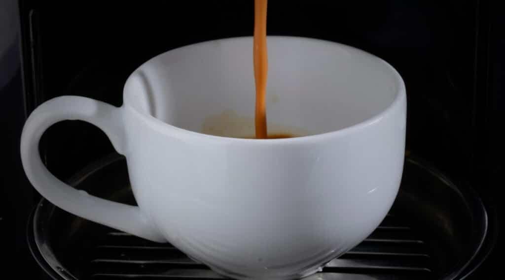 Keurig coffee maker brewing coffee.