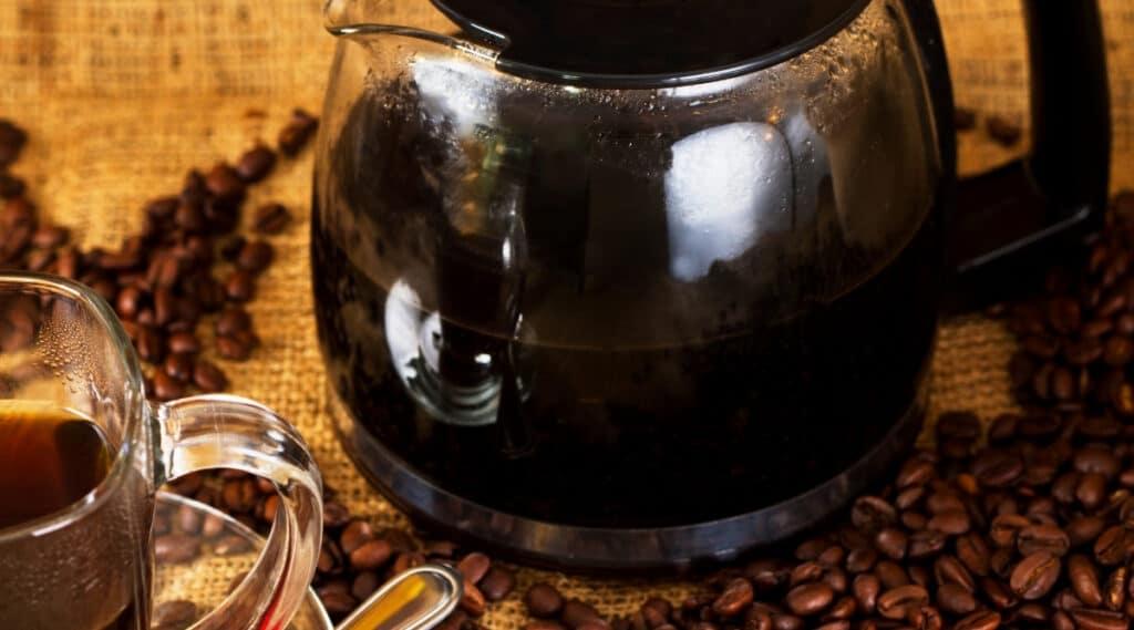 Ninja carafe filled with coffee.