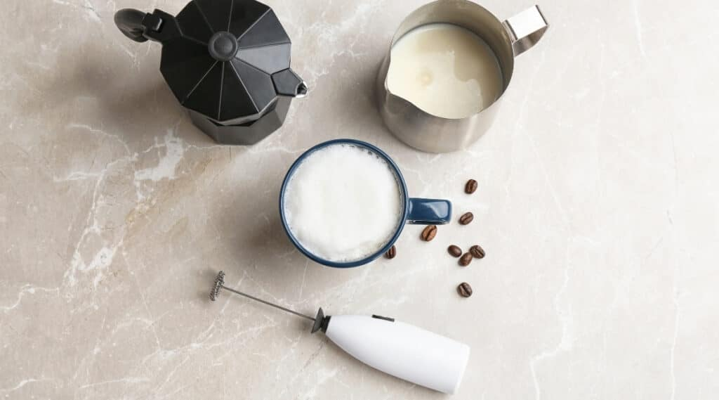 Tools used to make a Caffe Misto coffee.
